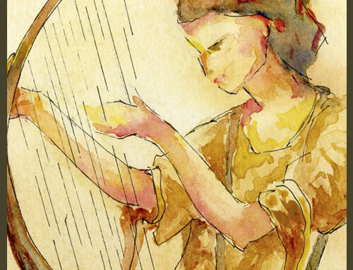 Online Course – sketch and paint your own heavenly harpist